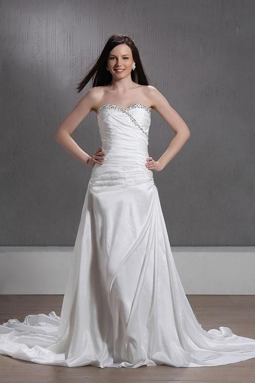 (CLICK IMAGE TWICE FOR PRICING AND INFO:) #women #womendresses #eveninggown #cocktaildress #wedding #weddinggown #eveningdresses #prom Charming A-line Sweetheart Taffeta Chapel Train Wedding Dress WAL06859-TB