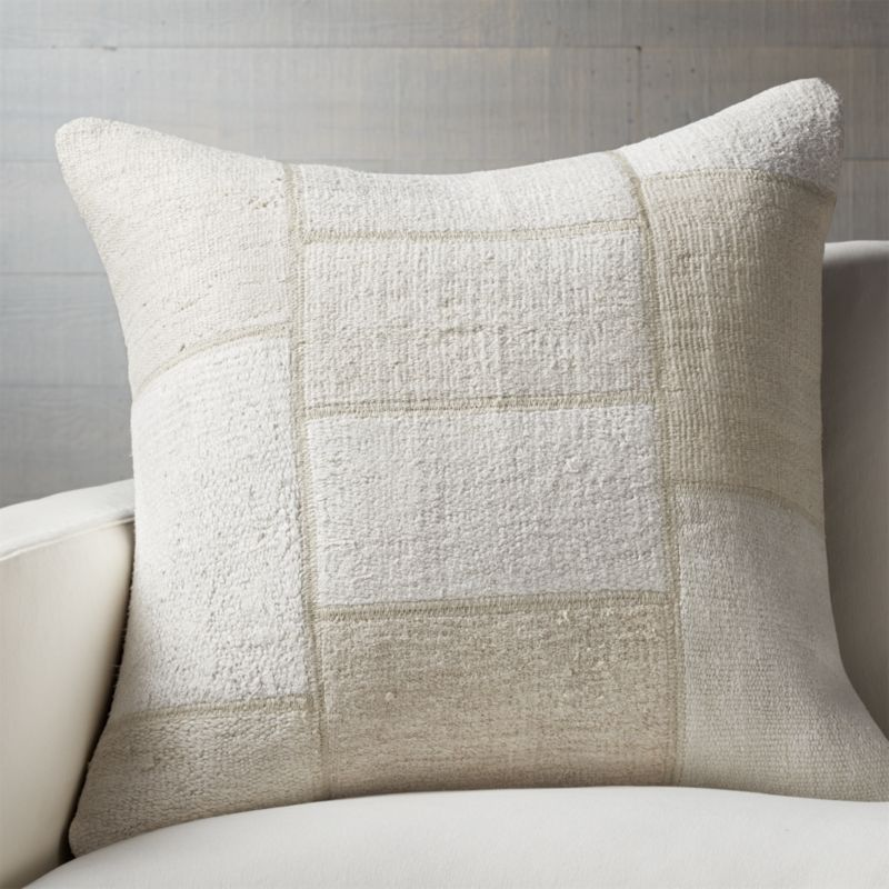 Shop Aurelio 25 Quot Pillow Vintage Rugs Recycle In A Monochromatic Off White Turkish Style Patchwork Pillow Rev Rustic Throw Pillows Throw Pillows Pillows