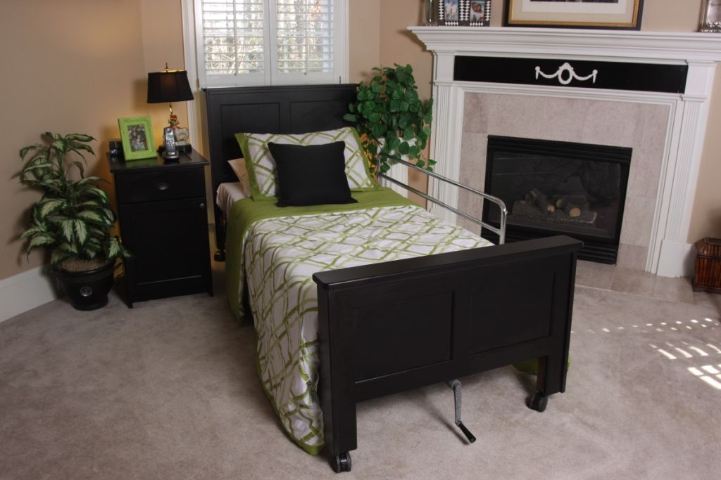 Black Color Shown On An Invacare At Home Hospital Bed Headboards For Beds Hospital Bed Bed