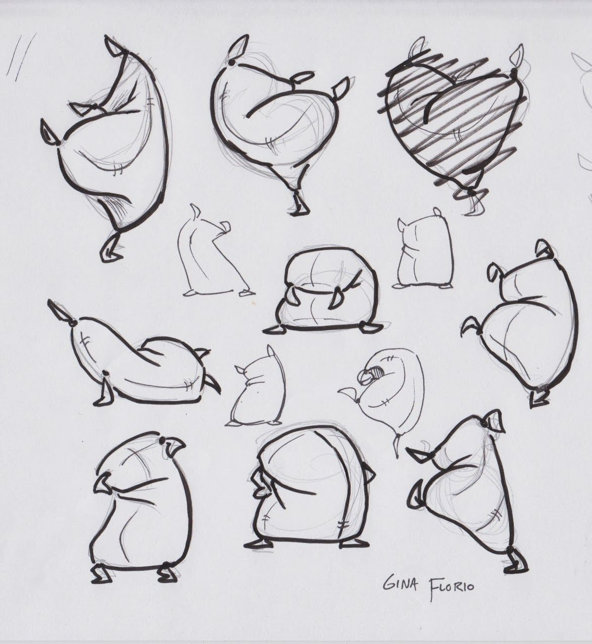Character Design Animation Tutorial : Gina draws flour sacks and such cartoon draw