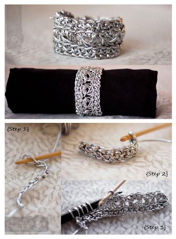 Metallic Crochet Bohemian Bracelet - free pattern and step by step tutorial