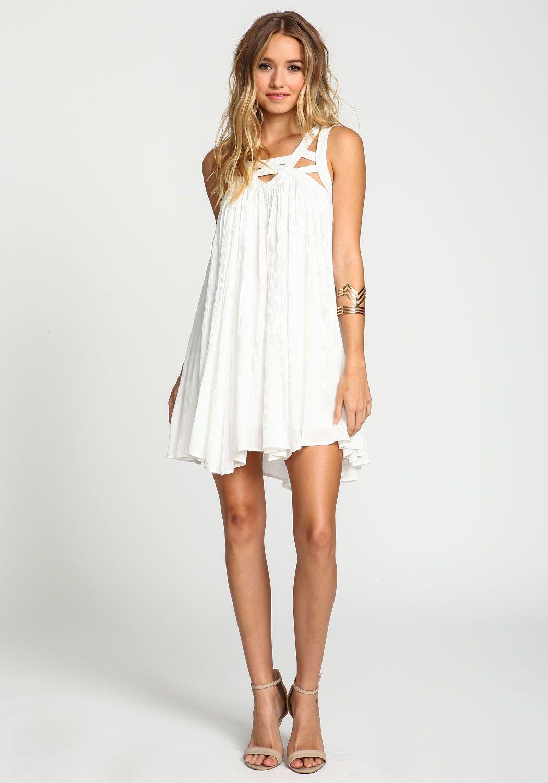 Ivory Strappy Caged Gauze Dress