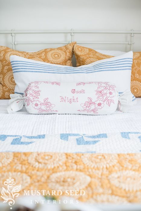 3 minute, no-sew bolster pillow cover - Miss Mustard Seed