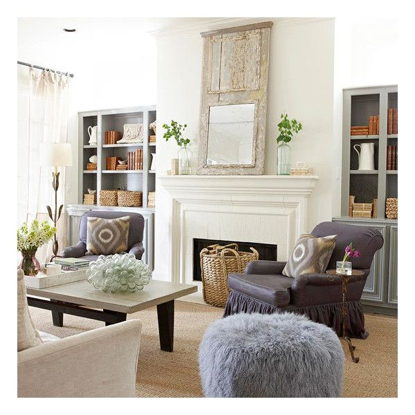 Living rooms gray built in cabinets flanking fireplace eggplant purple rolled arm chairs salvaged wood mirror sisal rug ivory slipcover sofa purple shag