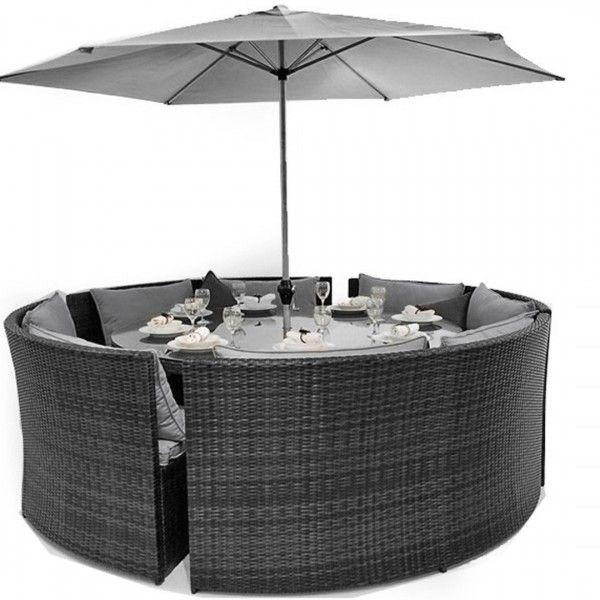 Maze Rattan Dallas 8 Seater Sofa Dining Garden Furniture Set - Grey