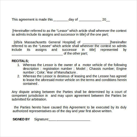 vehicle rental agreement 16 car rental agreement templates free