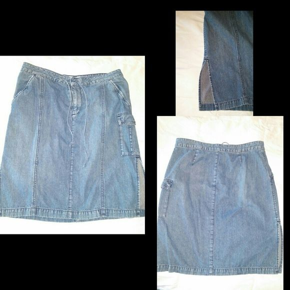 Victoria's Secret Denim skirt Purchased through a Victoria's secret catalog. Knee length, button and zip closure with drawstring. Simple skirt that goes with everything! London jean Skirts Midi