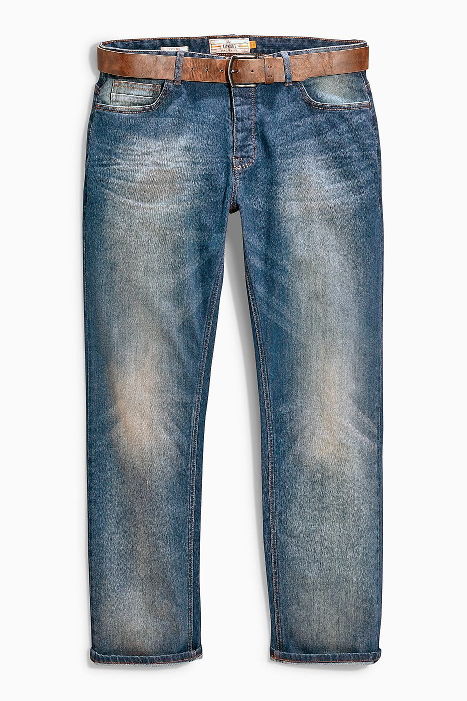 Jeans in mittelblauer Waschung mit Gürtel  Hauptteil: 98% Baumwolle, 2% Lycra-Elasthan. Gürtel: 100% Polyurethan....