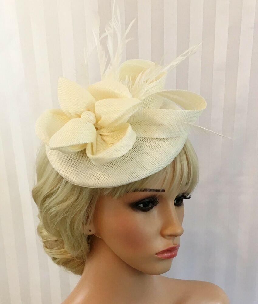 Black Cream Rose Flower Feather Pillbox Hat Hair