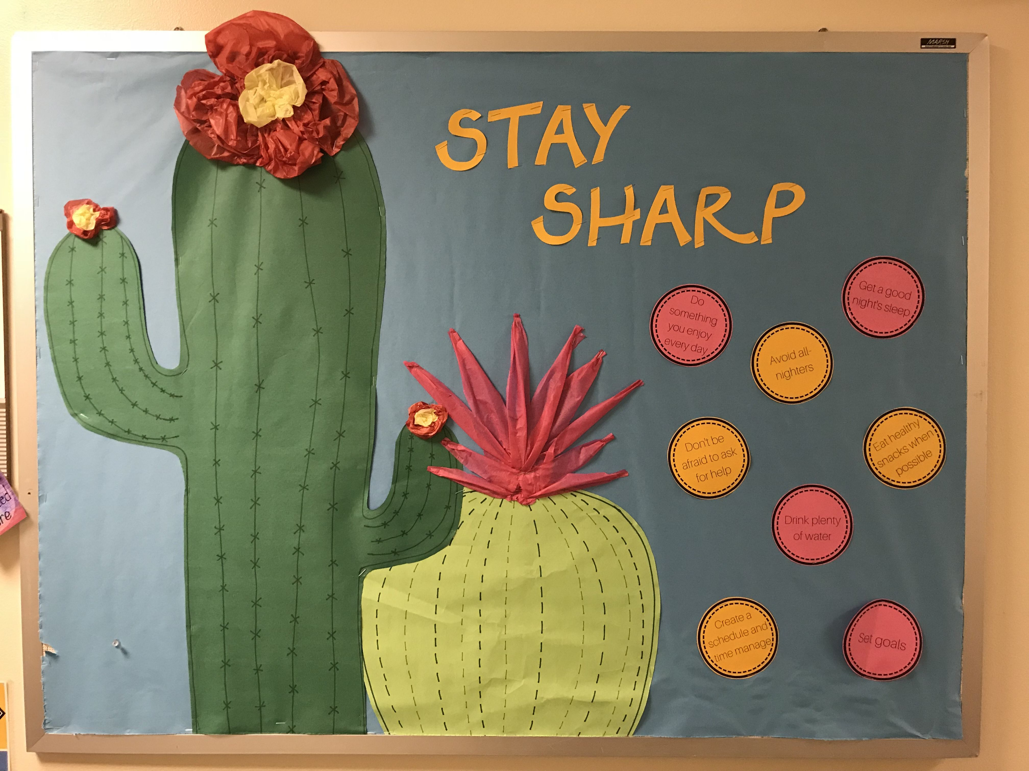 Stay Sharp Bulletin Board With Tips For The Upcoming School Year College Reslife Bulletinboard Ra