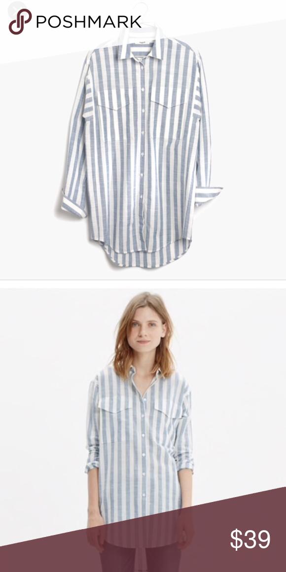 d9c2e3a4a Madewell Blue White Button-Down Shirt In Major Madewell striped button down  - blue and