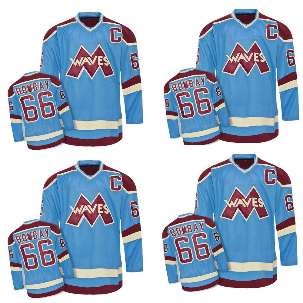 130af9cfd5d Mighty Ducks Movie Waves Gordan Bombay Blue Men Hockey Jersey 66 C Pick a  Size #PrivateLabel #WAVES