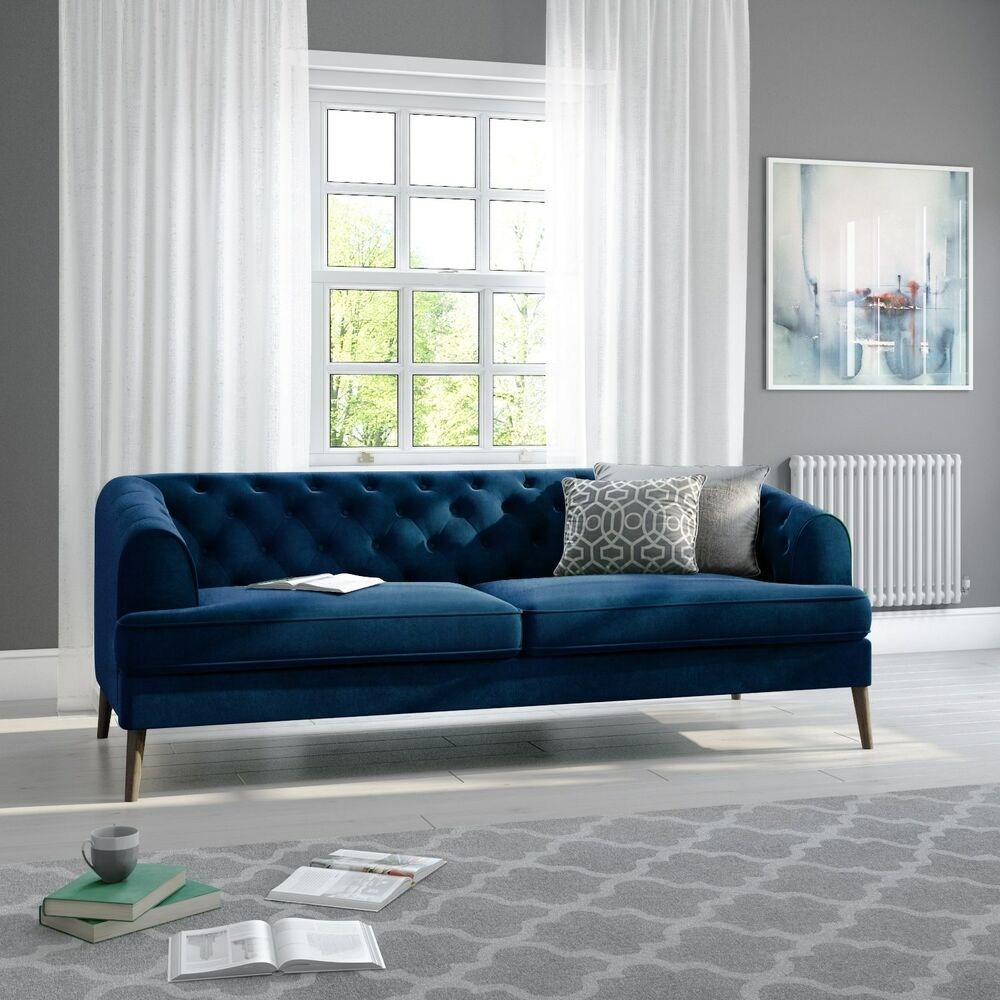 Inez Chesterfield Sofa In Dark Blue Velvet Seats 3 Sof035 Blue