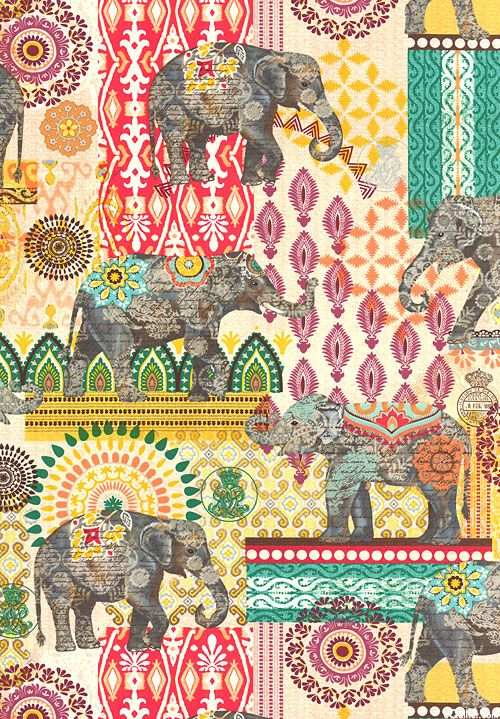 Suzani Elephant Caravan - Quilt Fabrics from www.eQuilter.com