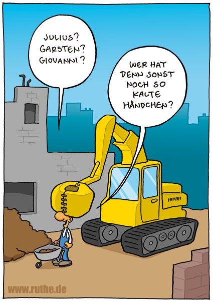 Bagger Augen Zuhalten Baustelle Kaltes Handchen Ruthe Cartoon Ruthe Lustige Cartoons