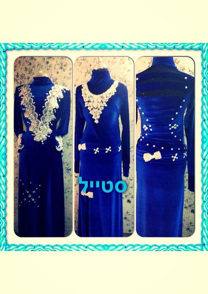 خياطة فستان مخمل ازرق Sewing Couture