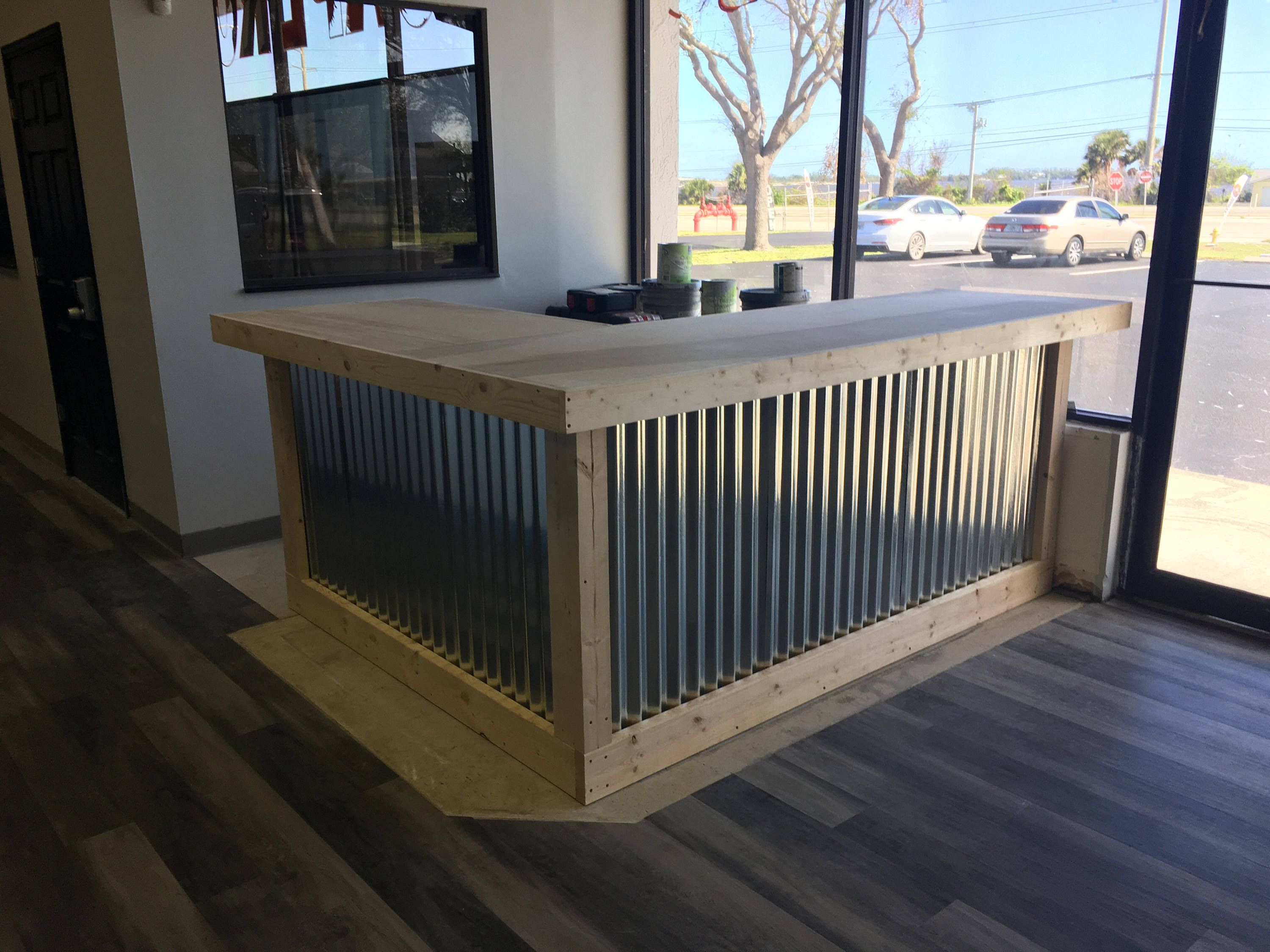 The L Shaped Counter 8 X 6 Foot Corrugated Metal Bar Sales Counter Reception Desk Unfinished By Buyfoo Corrugated Metal Indoor Bar Metal Reception Desks