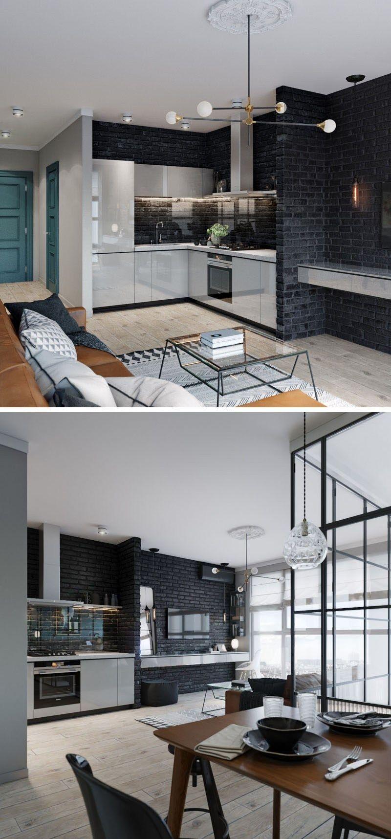 Mur Bleu Canard Et Style Loft Blog Deco Appartement Moderne Mur De Briques Noir Mur Bleu Canard