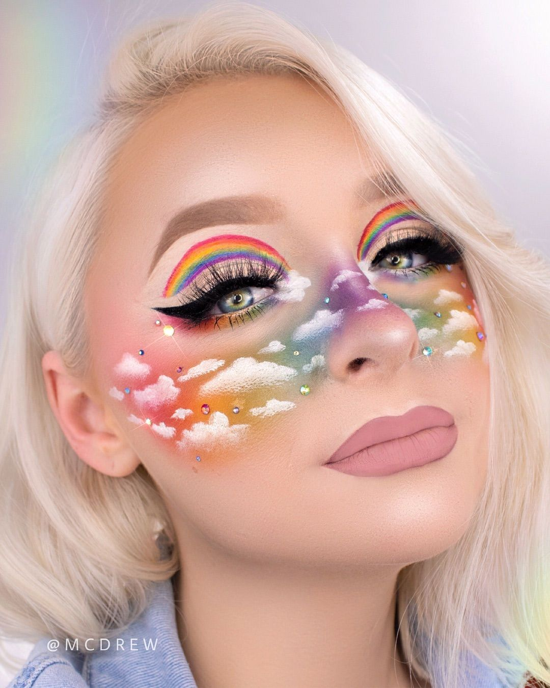 """♡ d r e w ♡ on Instagram: """"RAINBOW CLOUD GLAM 🌈☁️ ⠀⠀⠀⠀⠀⠀⠀⠀⠀⠀⠀⠀⠀⠀⠀⠀ my @jamescharles sister sunday takeover look! i've said it a lot but i just wanna say how truly…"""""""