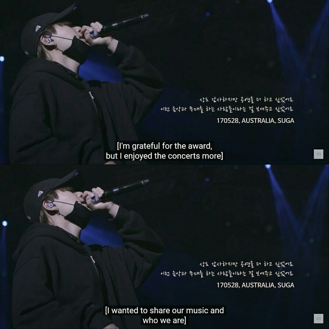 Quote from Suga (Min Yoongi) at Burn The Stage | Asian in