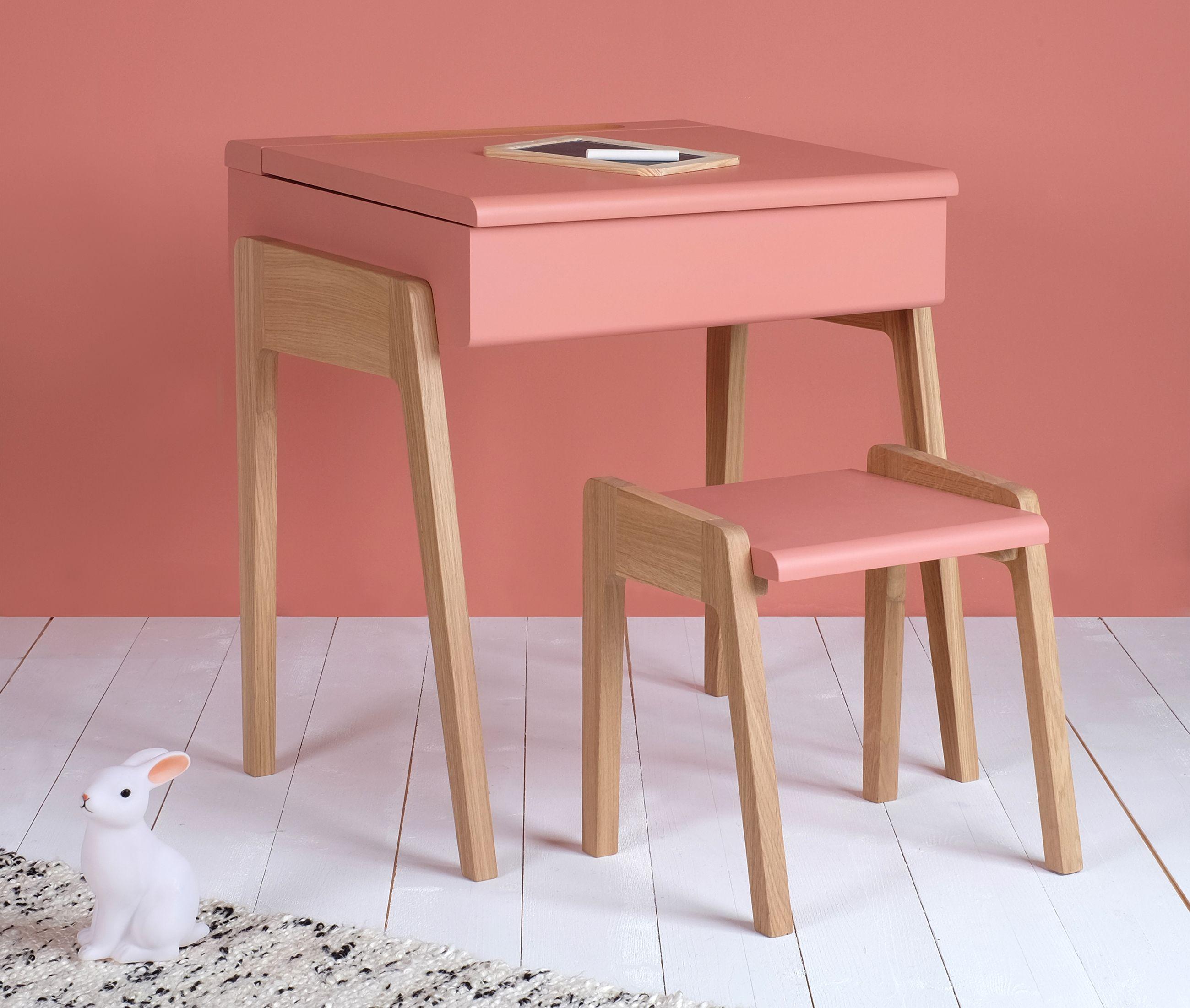 Bureau et tabouret enfant style pupitre rose et chne Idal pour