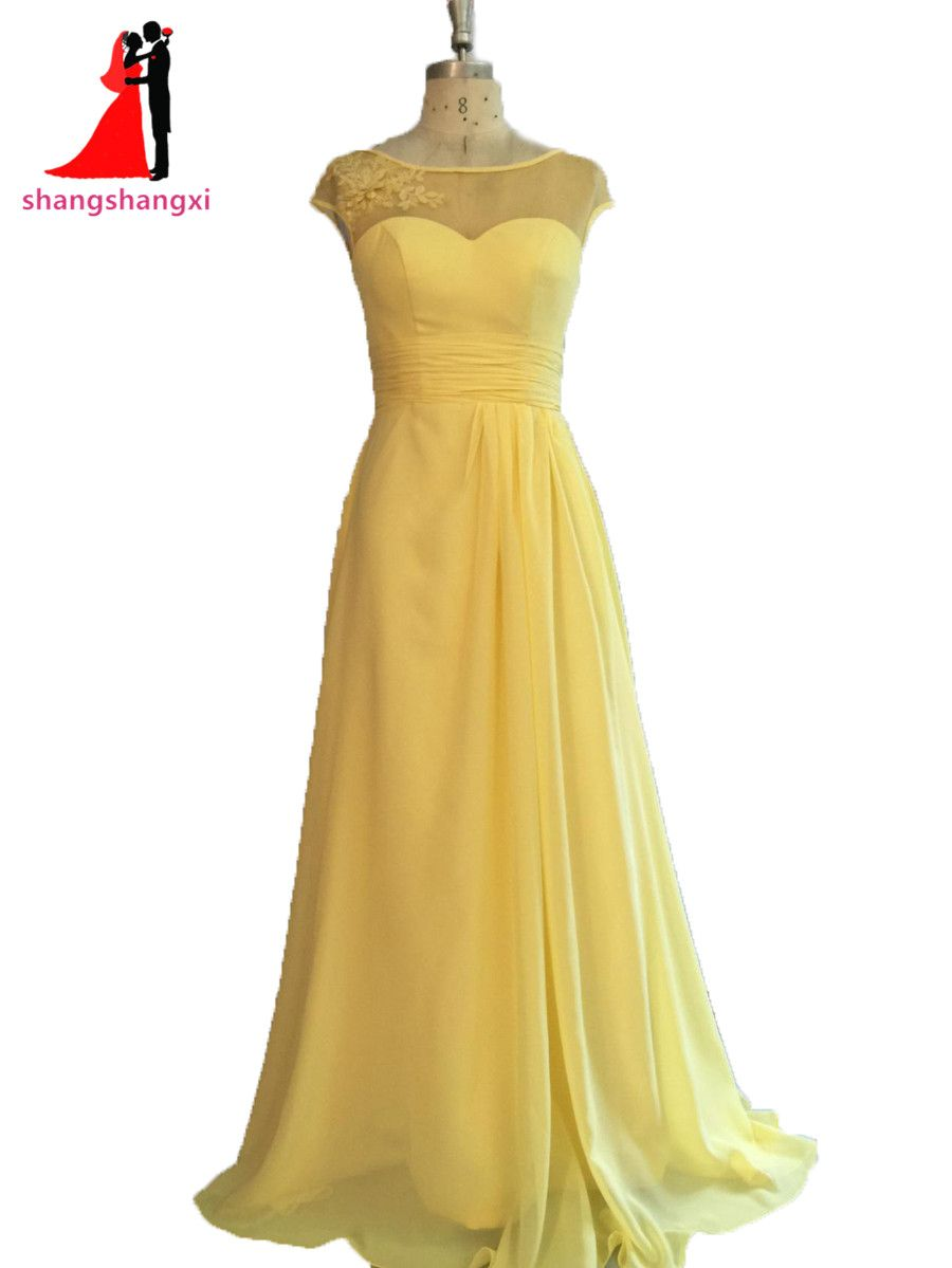Plus Size Long Bridesmaid Dresses 2017 Yellow Chiffon Wedding Party Gown  Cap Sleeves Maid of Honor Long Prom Gown 16ca1cacf7e3