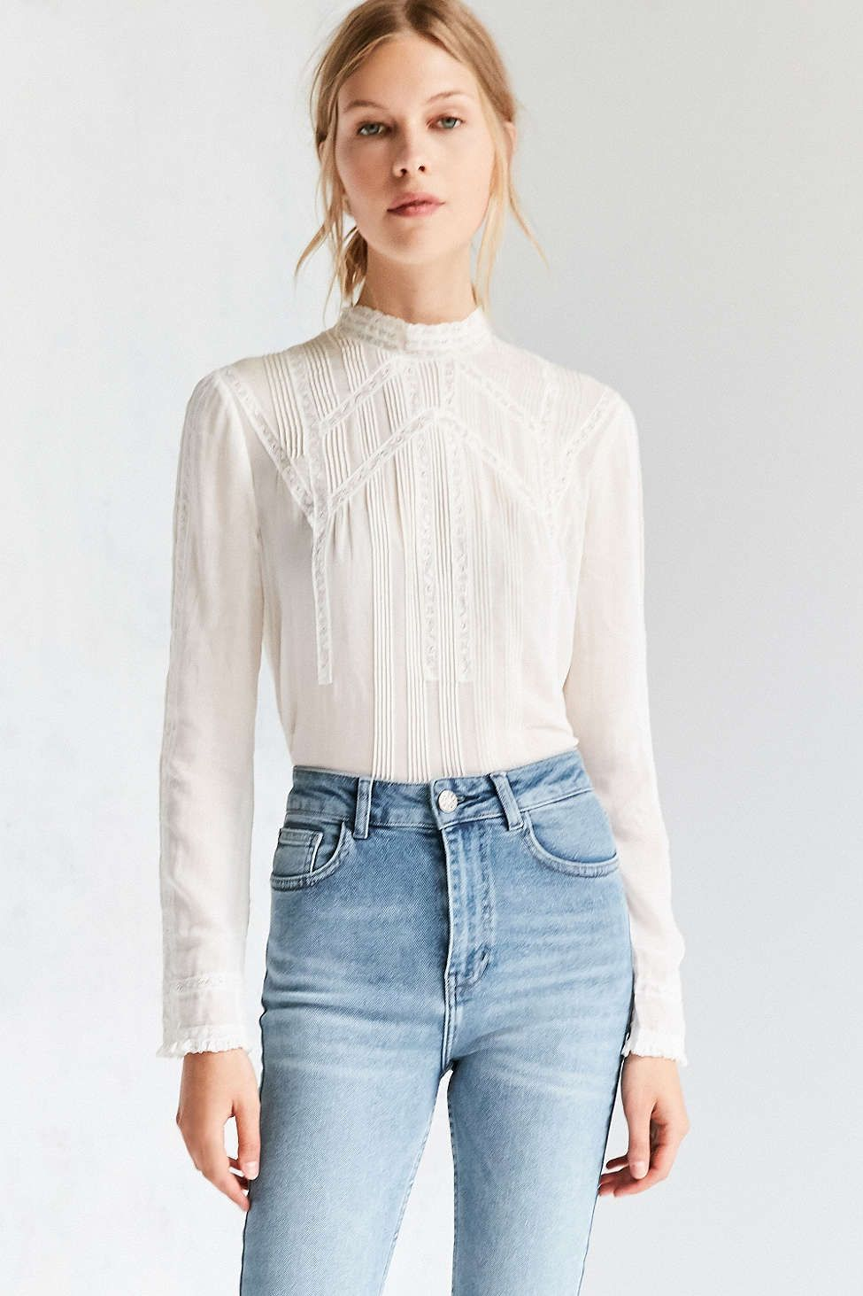 0049d054a2fb5f Kimchi Blue Victorian Mock-Neck Blouse - Urban Outfitters