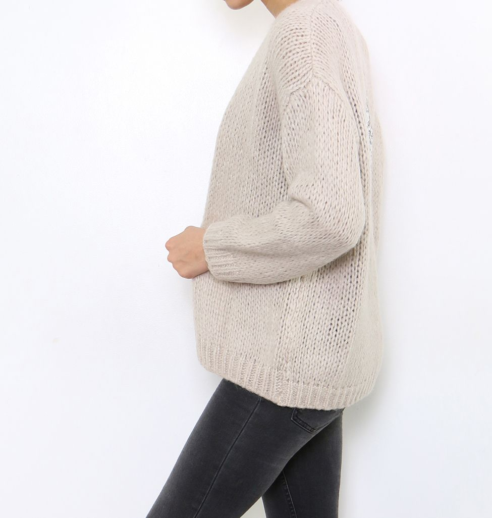 Chunky Knit Mohair Star Cardigan - Taupe | Chunky knit cardigan ...