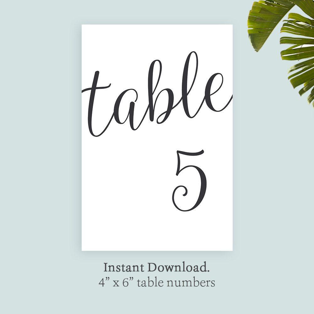 printable table number template 4x6 black printable. Black Bedroom Furniture Sets. Home Design Ideas