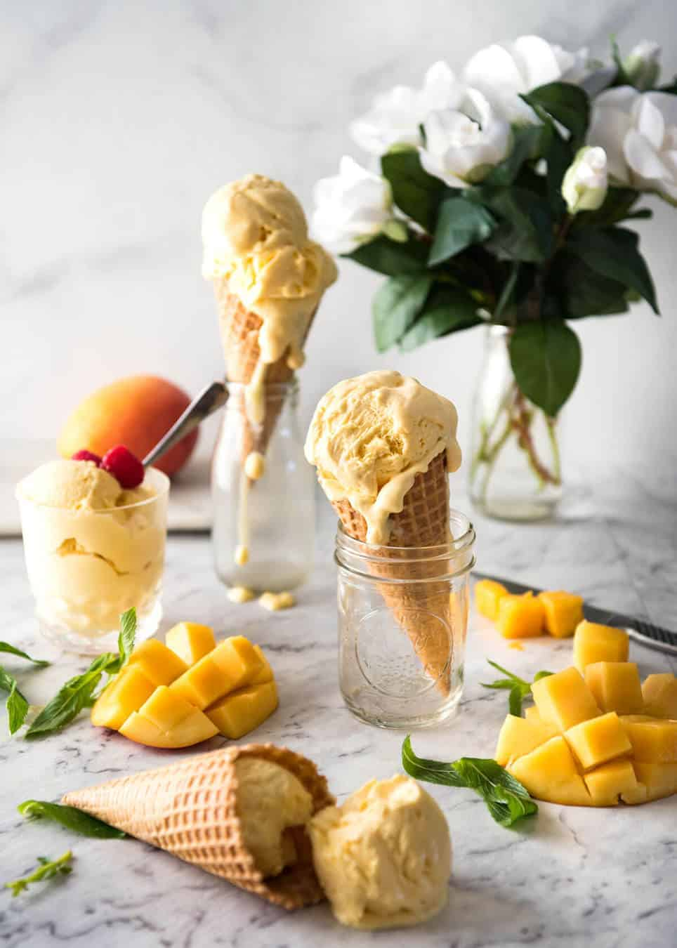 Homemade Mango Ice Cream #icecreammaker