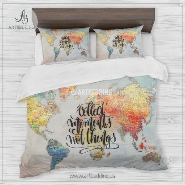 Boho brick wall world map bedding travel map collect memories boho brick wall world map bedding travel map collect memories duvet cover gumiabroncs Choice Image