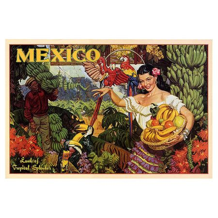 Gallery-wrapped canvas print of a vintage Mexican tourism ad.   Product: Wall artConstruction Material: Canvas