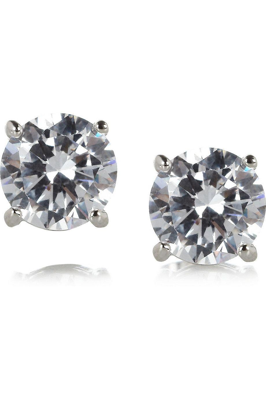 Kenneth Jay Lane|Rhodium-plated cubic zirconia earrings