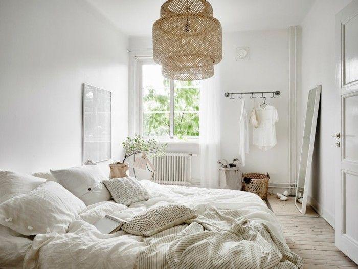 skandinavisch einrichten schlafzimmer holzboden pflanzen spiegel - spiegel für schlafzimmer