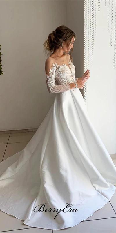 Illusion Long Sleeves Lace Top A Line Satin Wedding Dresses Bridal Go Berryera Weddingdresses Lac Wedding Dresses Wedding Dress Long Sleeve Bridal Dresses