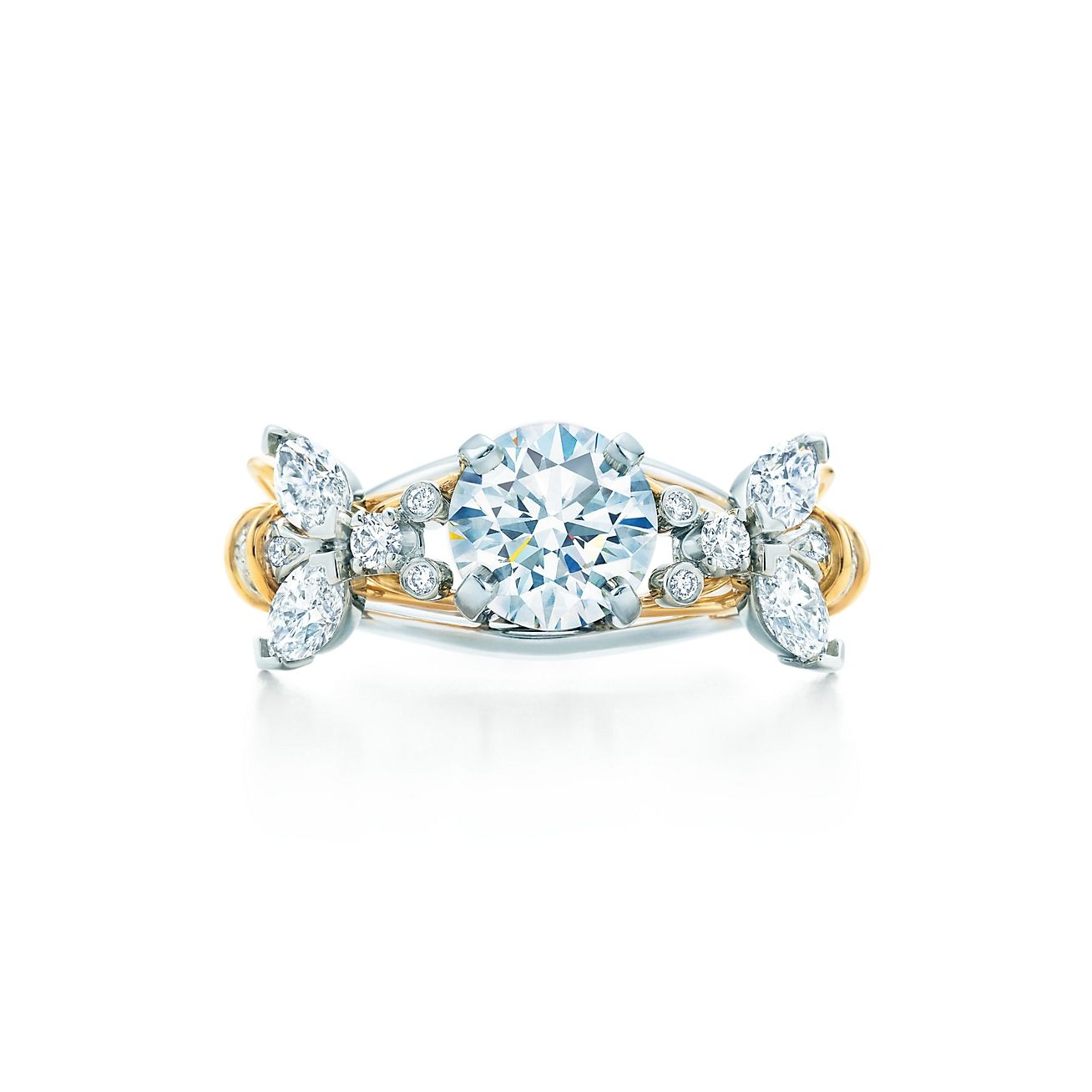 Schlumberger® Two Bees Engagement Ring in Platinum & 18k