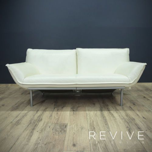 Ledersofa modern beige  Designer-Leder-Sofa-Creme-Weiss-Zweisitzer-Funktion-Echtleder ...