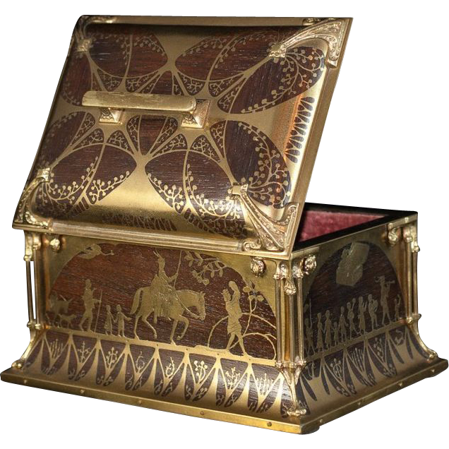 Art nouveau design with absolutely gorgeous Bronze Boulle inlay on