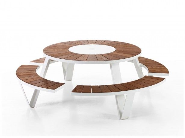 furniture teak round picnic bench circular picnic table round rh pinterest at