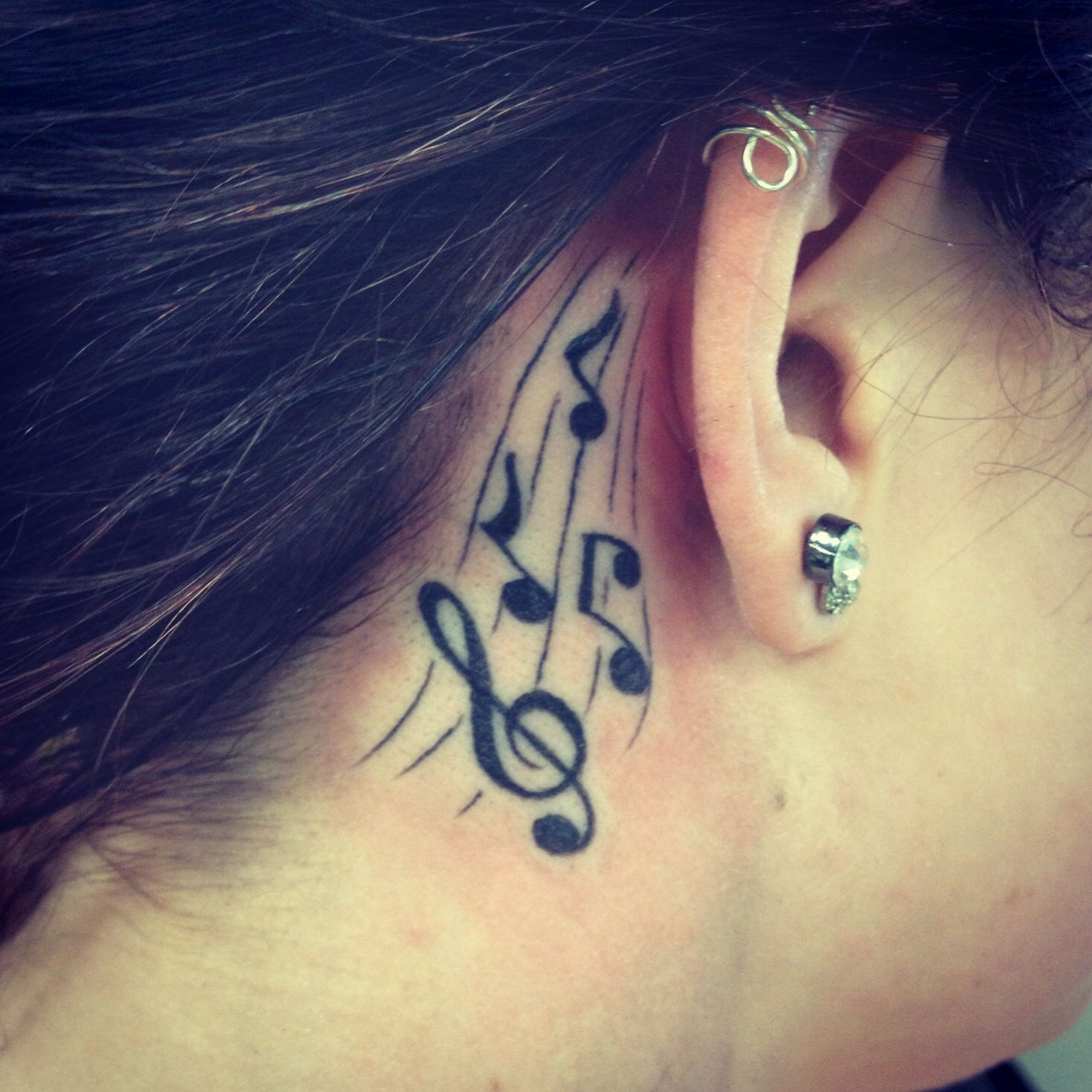 Music Notes Behind The Ear Behind Ear Tattoo Music Tattoos Music Tattoo Designs
