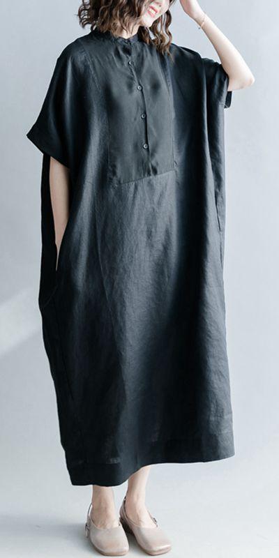 CASUAL BUTTON DOWN BLACK DRESSES WOMEN LINEN KAFTAN Q1867 #blackdresscasual