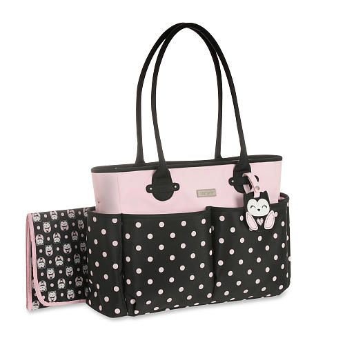 Carter S Owls Diaper Bag Tote In Black Pink Dot Br