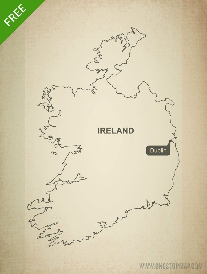 Free vector map of Ireland outline Free
