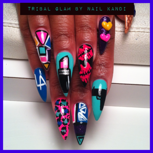 Trashy Bright Dagger Gangsta Nails All Hail Nailz Pinterest