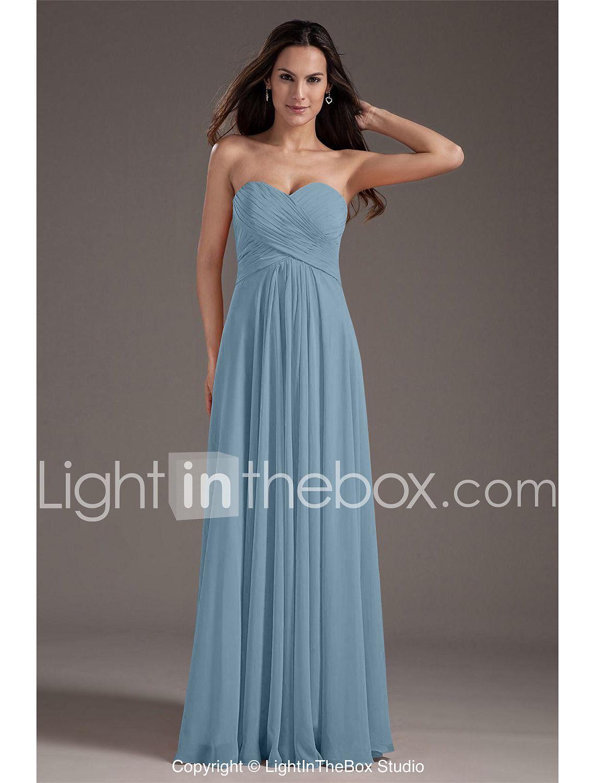A-Line Sweetheart Floor Length Chiffon Prom Formal Evening Dress ...
