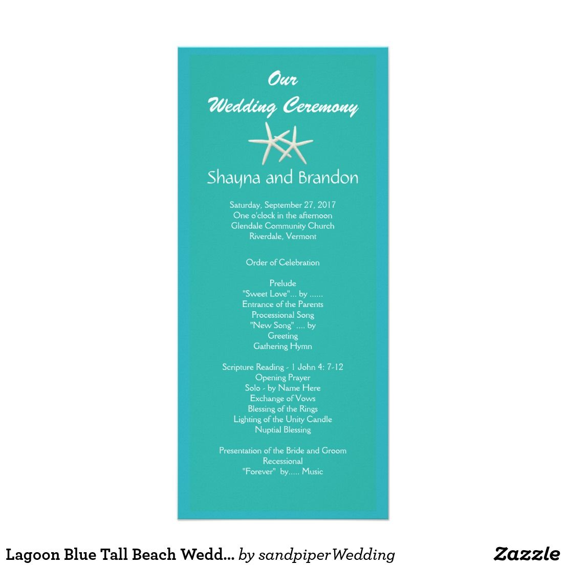 Beach Wedding Ceremony Processional: Lagoon Blue Tall Beach Wedding Programs