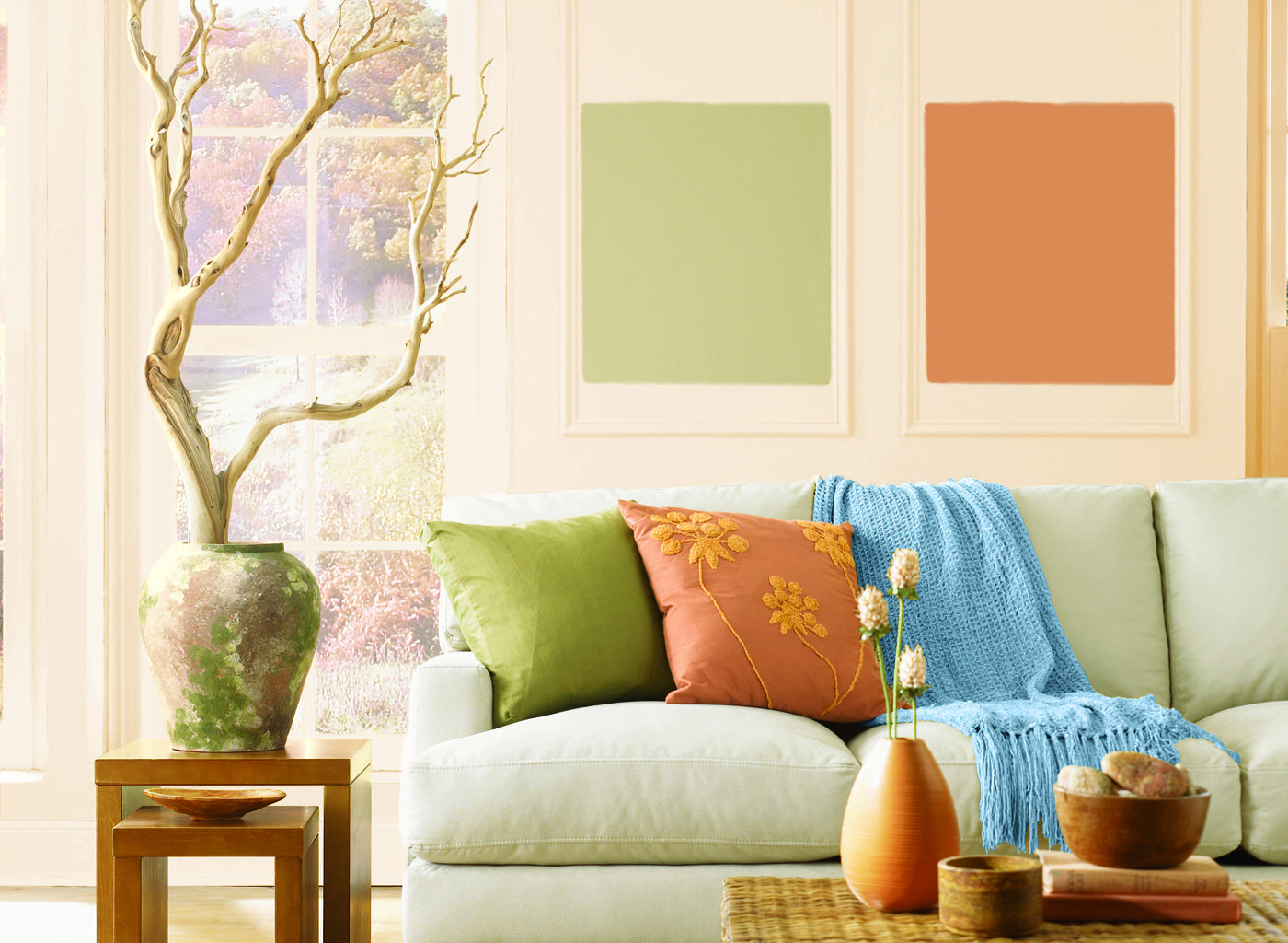 Living Room In Icy Peach
