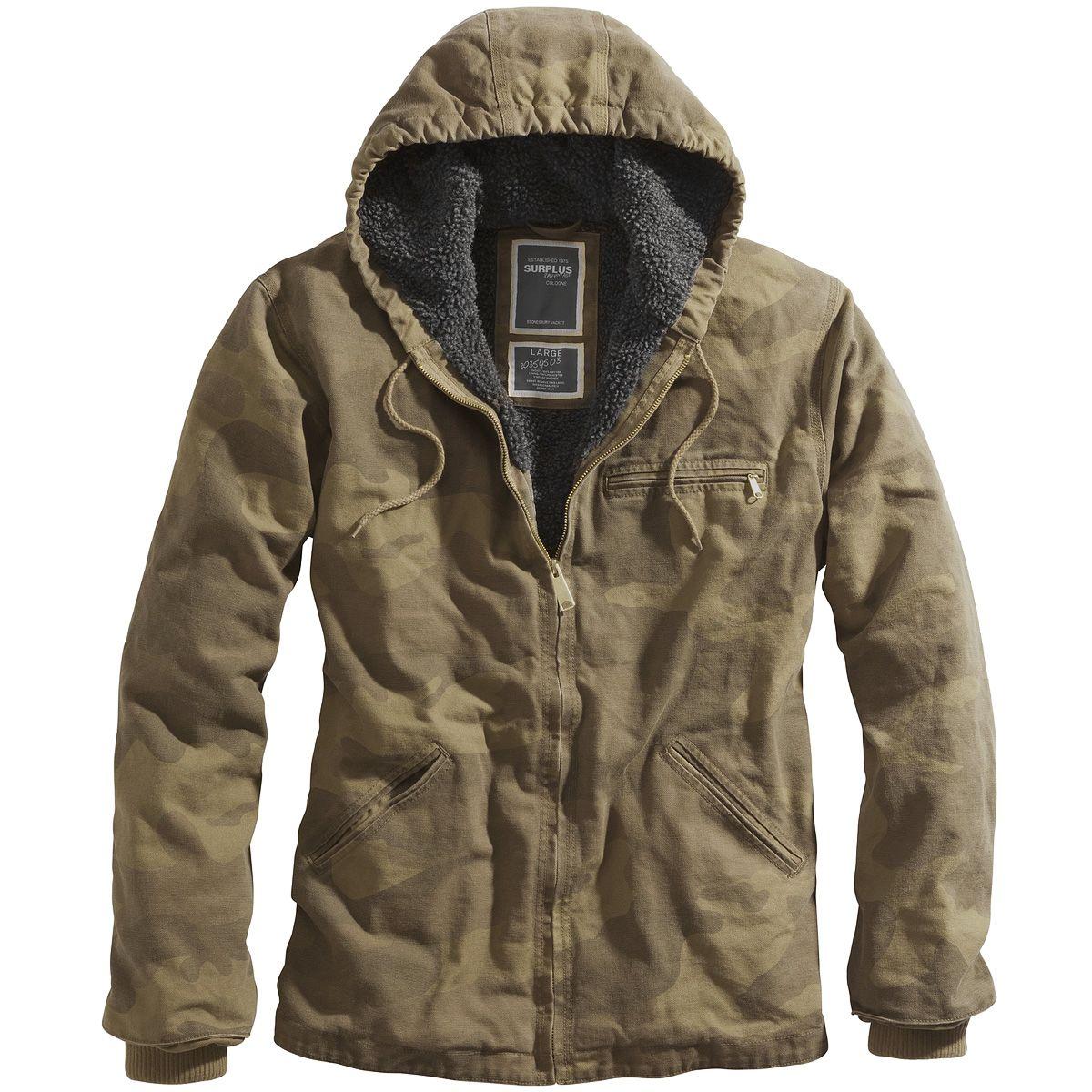 Surplus Stonesbury Jacket in Woodland camo. Simple & comfortable, with  large hood, warm