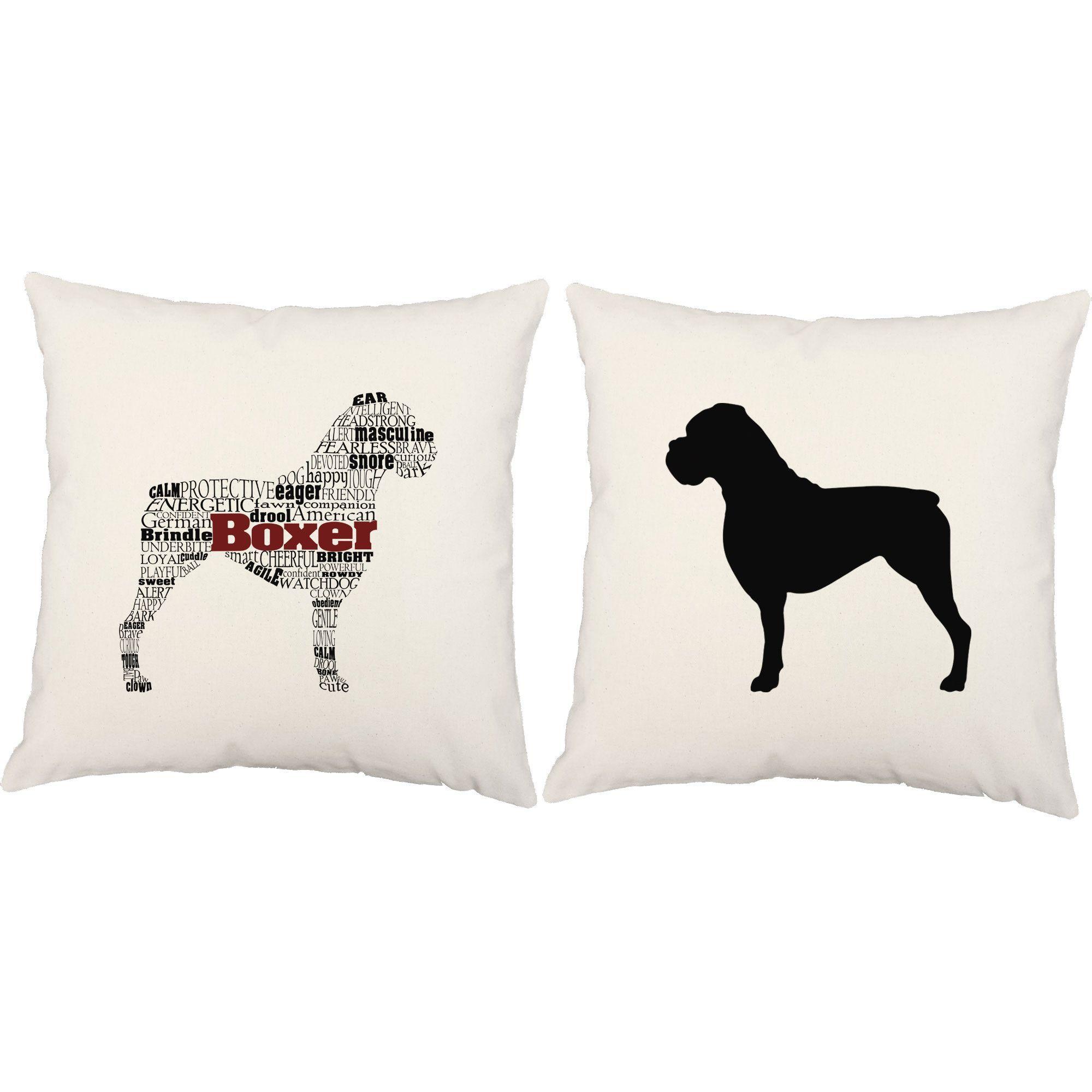 Typography Boxer Throw Pillows