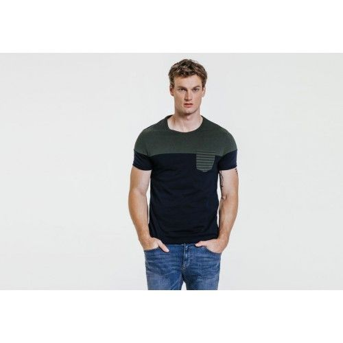 Tee-shirt col rond color block Bleu Marine Fantaisie Homme - Jules - taille M